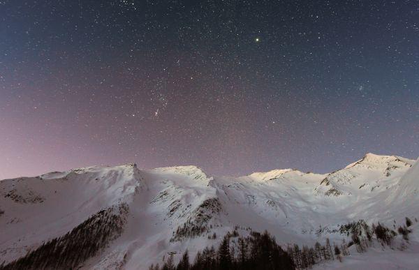 Mountain Snow Sunset Stars Sky photo