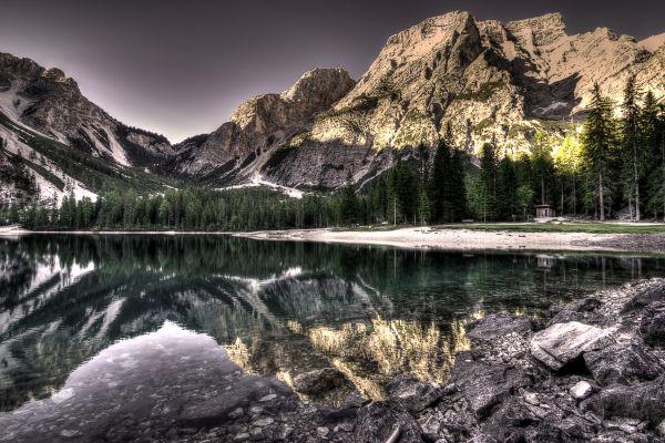 Still Lake Mountain Snow Sunset photo