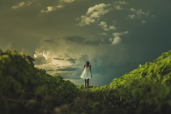 Woman White Dress Field Clouds photo