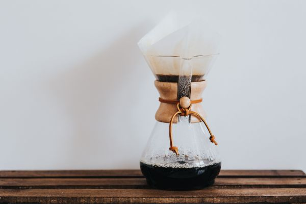 Pouring Hot Coffee Maker photo