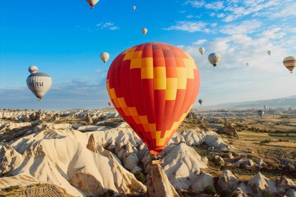 Hot Air Balloons Mountains photo