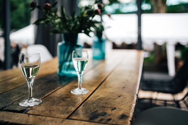 Glass White Wine Wood Table photo