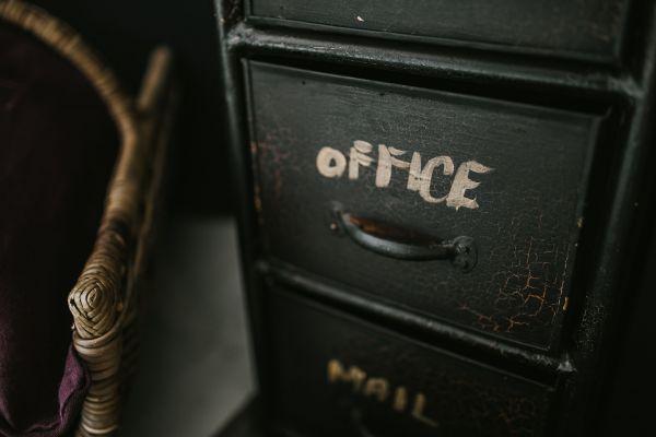 Black Office Desk Vintage photo