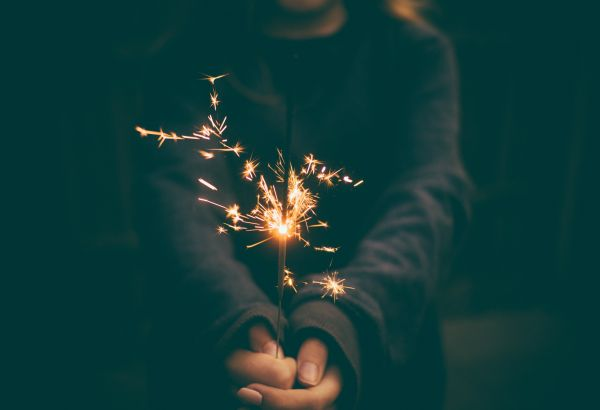 Woman Sparkler Firework Night photo