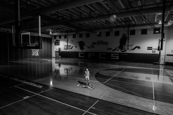 Boy Basketball Gym Black White photo