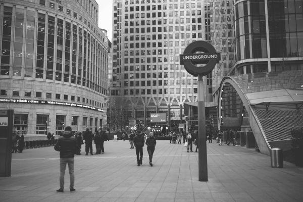 Underground Sign London B&W photo