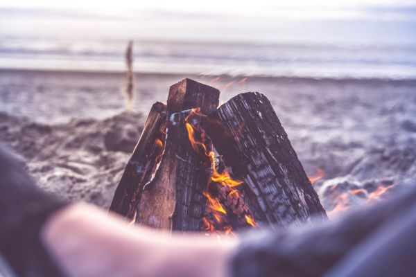 Beach Camping Fire Close Up photo