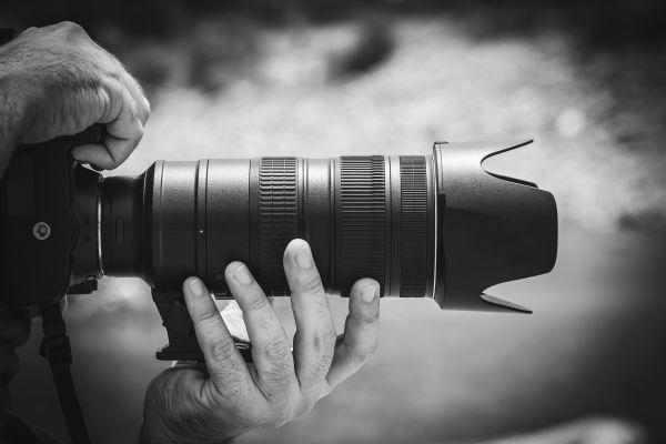 Black White Camera Lens Man photo