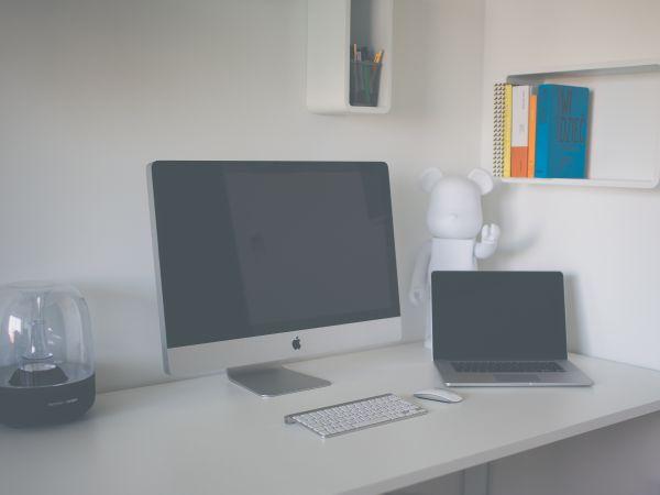Mac White Minimal Desk photo