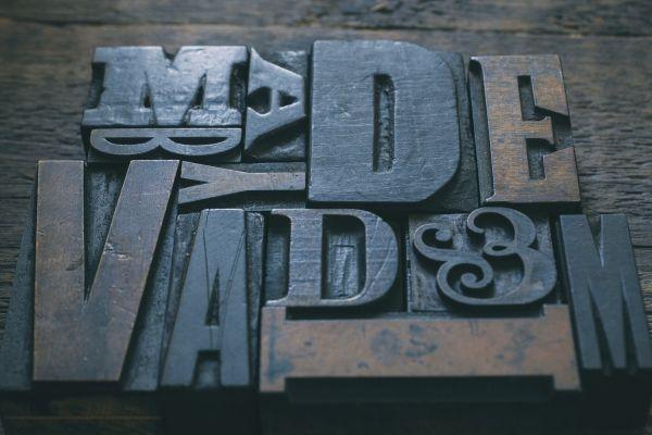 Letters Stencils Wood Print Design photo