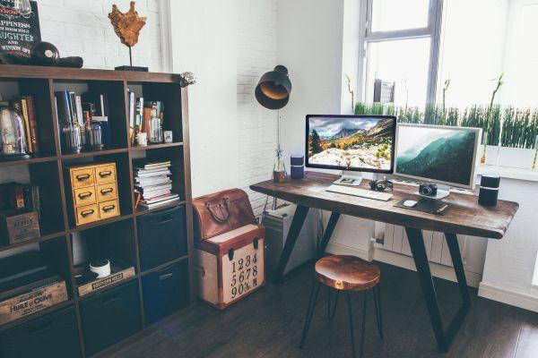 Laptop Camera Office Desk Wood photo