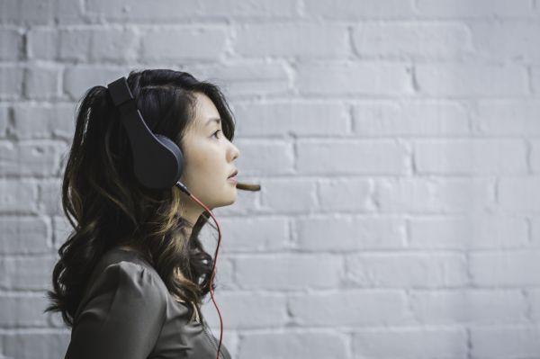 Woman Headphones White Wall photo