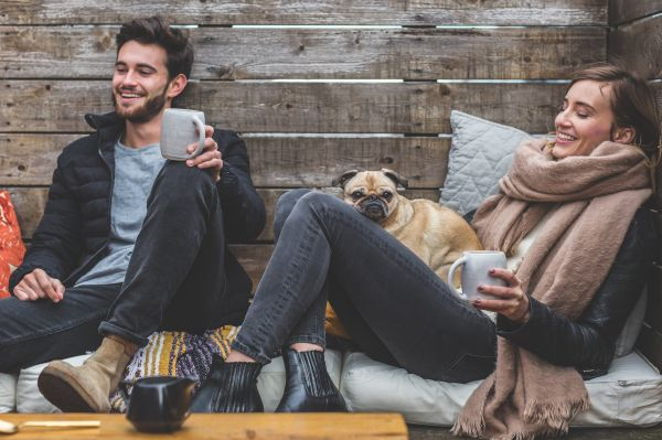 Man Woman Coffee Pug Dog Wood photo