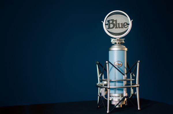 Blue Retro Style Microphone photo