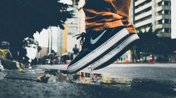 Man Jumping Puddle Nike photo