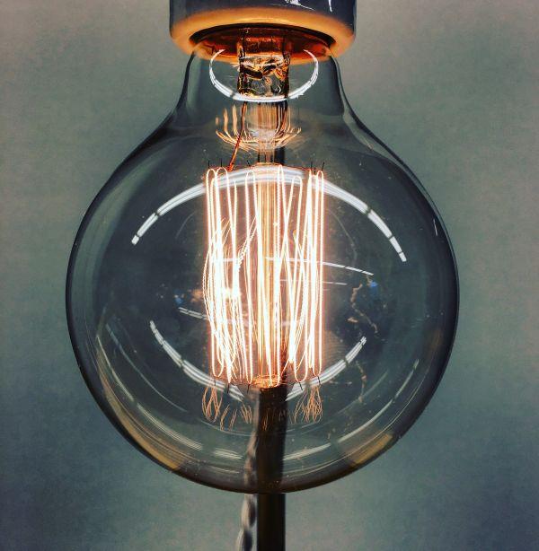 Closeup Vintage Lightbulb Idea photo