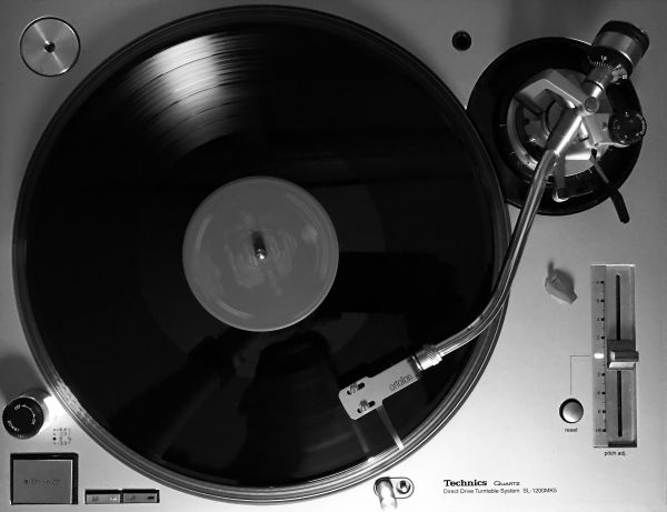 Black White Vinyl Record Player photo