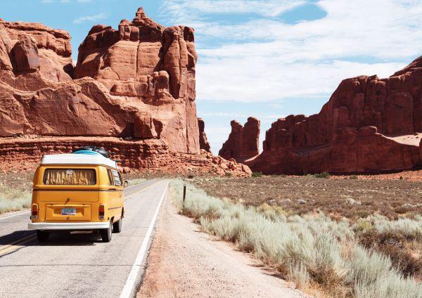 Classic Yellow Volkswagen Van Desert photo