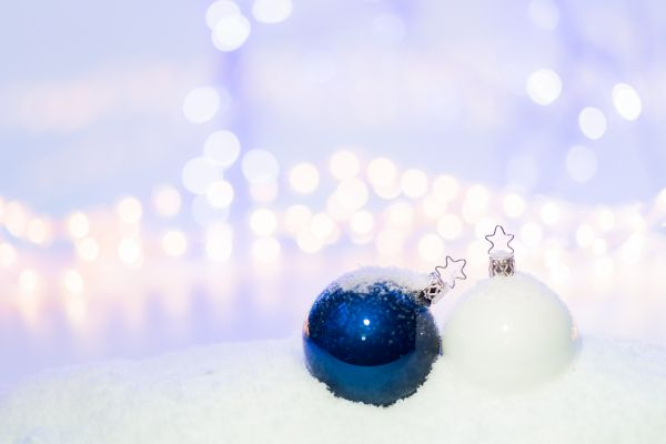 Blue & White Christmas Tree Baubles photo