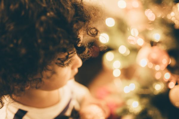 Child at Christmas photo