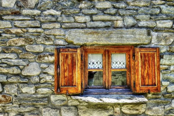 Vintage Window Wood Stone photo