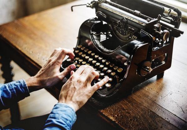 Vintage Desk Typewriter Man Hands photo