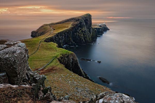 Sea Cliffs Mountains Scotland photo