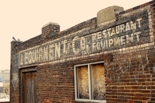 Restaurant Sign Brick Old photo