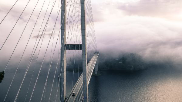 Bridge Cars Fog photo