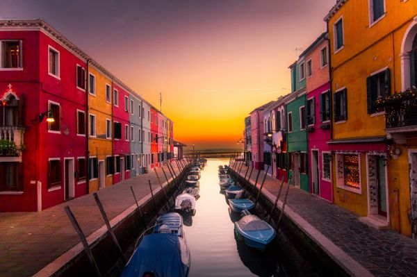 Boats Buildings Canal Color Venice photo