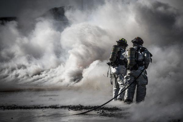 Fire Fighters Smoke Hose photo