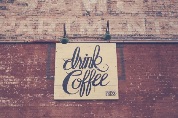 Drink Coffee Typography Brick Wall photo