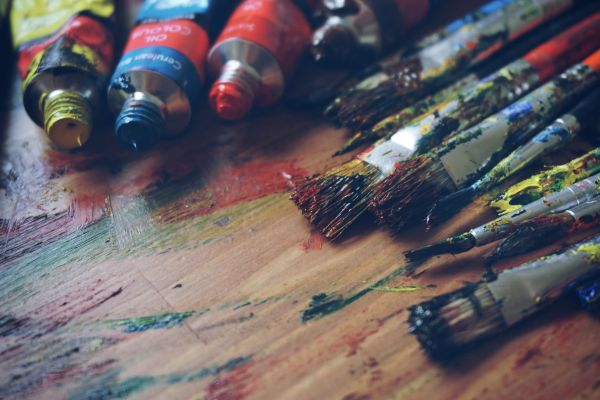 Paint Brushes Oil Wood Table photo