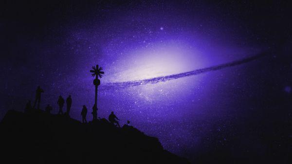 Night Silhouette Stars Universe photo