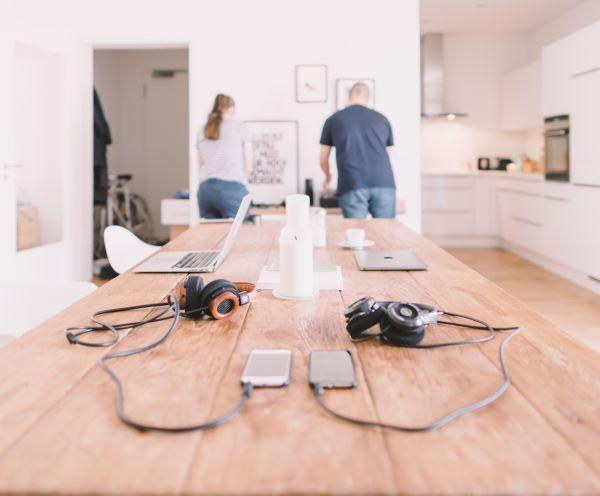 Minimal Wood Desk Office White photo