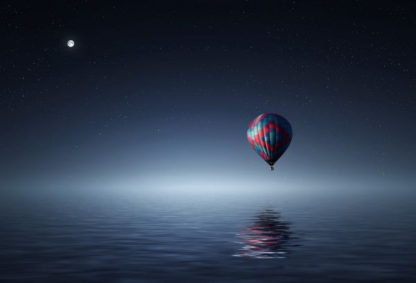 Hot Air Balloon Night Sky Moon photo