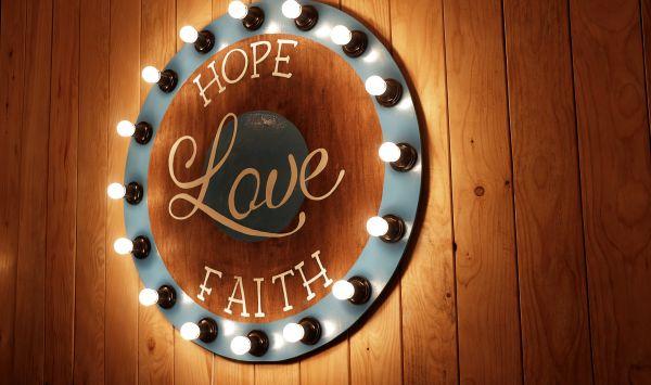 Hope Love Faith Sign Wood Light photo