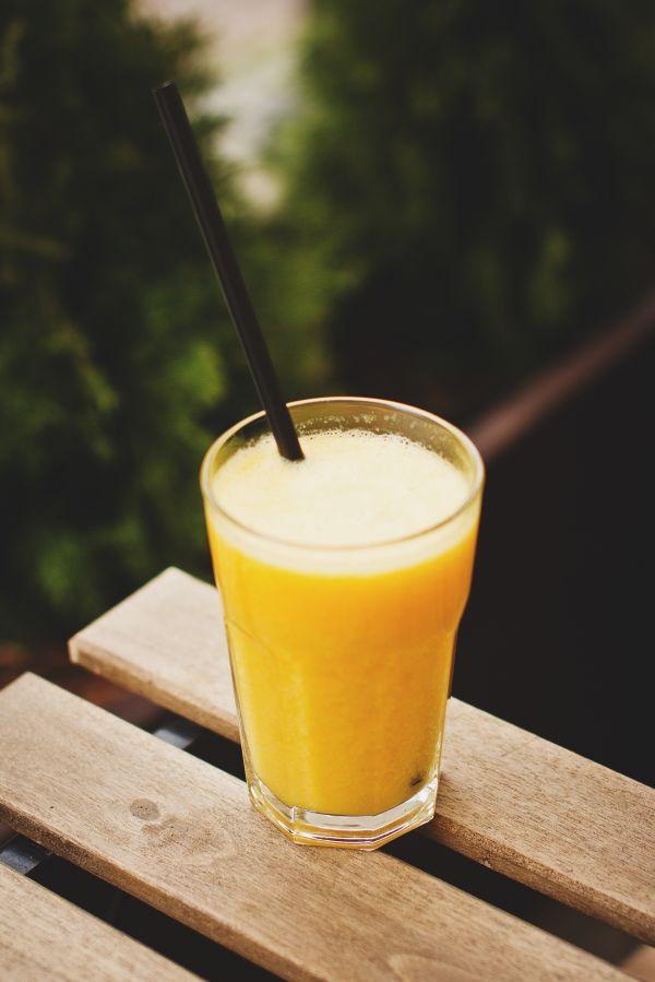 Orange Smoothie Wood Table photo