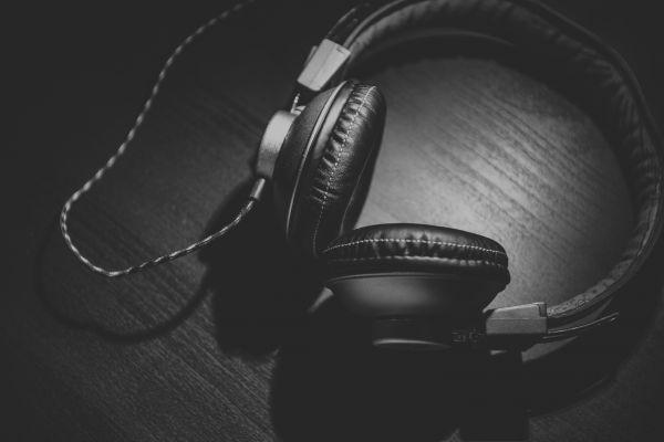 Headphones Black White photo