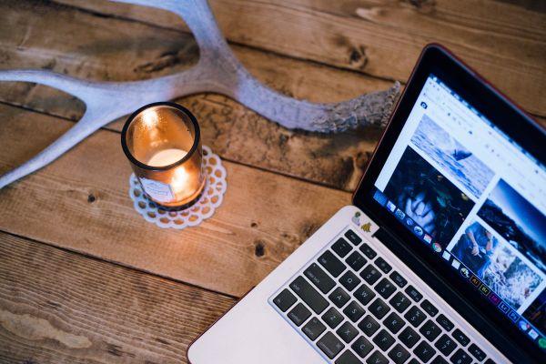 Wood Desk Candle MacBook photo