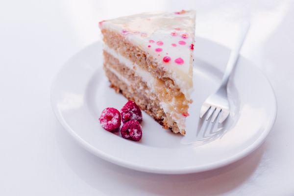 Raspberry Cake White Plate Fork photo