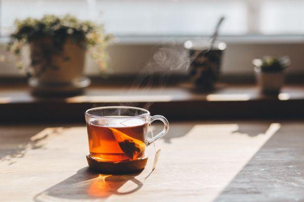 Cup Hot Tea Wood Table photo
