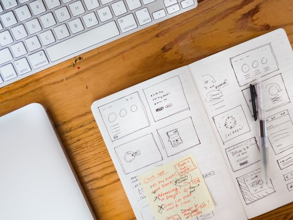 Desk Sketchbook Keyboard Laptop photo