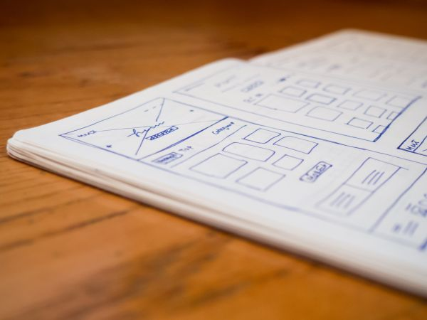 Open Notebook Wireframe Sketch photo
