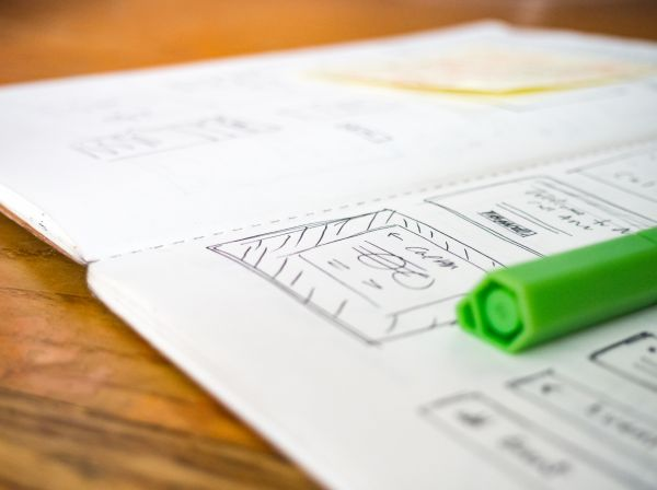 Open Notebook Wireframe Sketch Pen photo