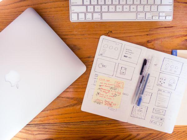 MacBook Wireframe Notebook Sketch photo
