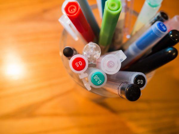 Collection Pen Color Wood Desk photo