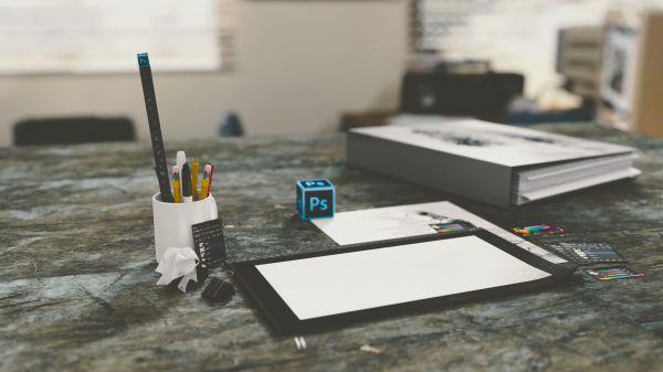 Desk Photoshop Pencils Paper photo