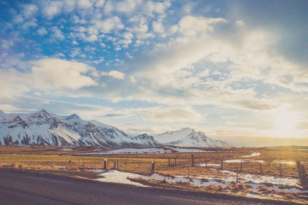 Vintage Snow Mountain Blue Sky photo