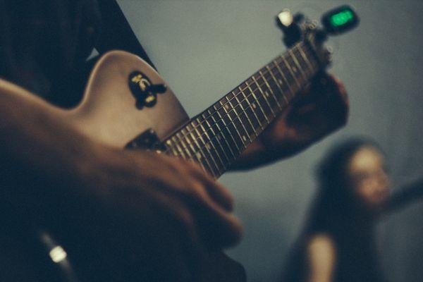 Tuning Guitar Closeup photo